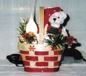 Red and white Christmas basket.