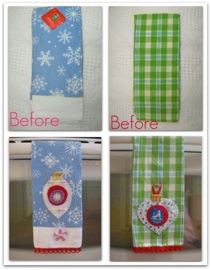 Christmas tea towels with added embellishmens.