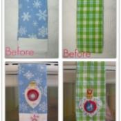 Christmas tea towels with added embellishmens.