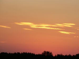 Peach colored sky.
