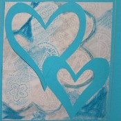 Blue and white heart card.
