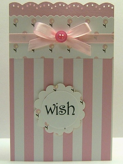 pink and white striped card