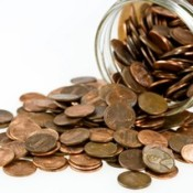 A jar full of pennies.