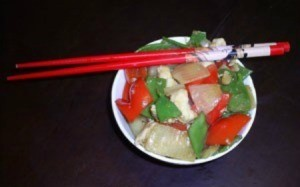 $10 Dinners: Chicken Stir Fry - stir fry with chopsticks