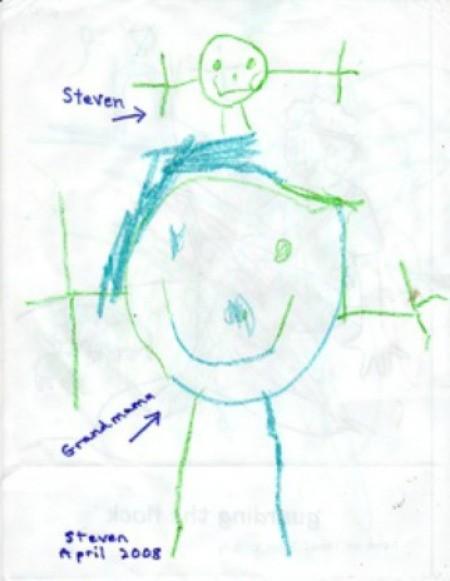 Stick figure drawing.