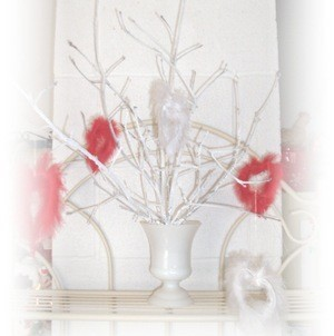 Ornaments on white Valentine's tree.
