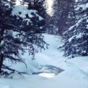 Snow covered stream.