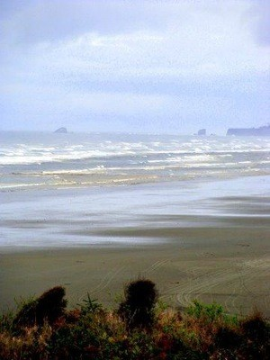 A beach view with the waves in the distance.
