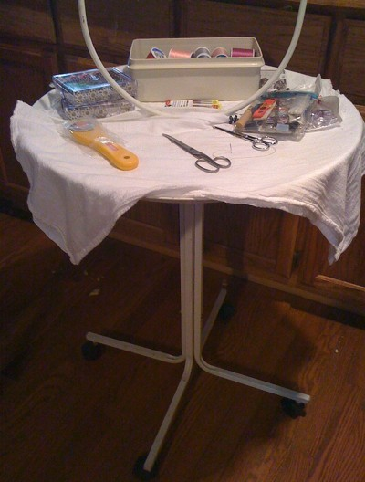 Craft table from bird stand.