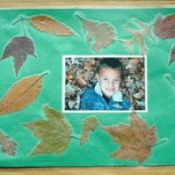 two photo placemats with fall leaves