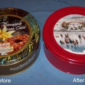 A before and after of a decorated cookie tin.