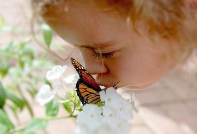 Girl kissing butterfly on white flower