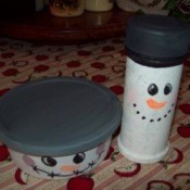 Recycled Snowman Candy Containers - finished containers