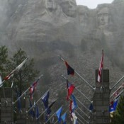 Mt. Rushmore and flags