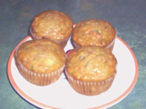 Spicy Pineapple Carrot Zucchini Muffins on plate