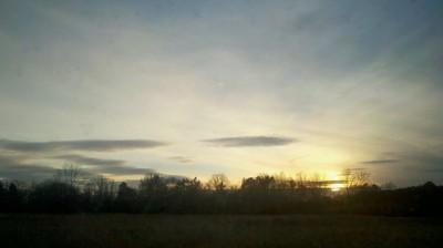 Pale yellow sunrise.