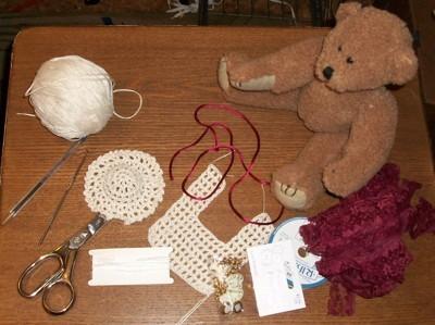 Teddy bear with crochet bib.