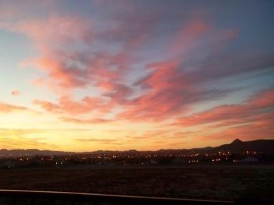 Beautiful pink and yellow sunrise.