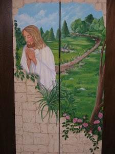 Jesus praying room divider screen.