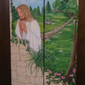 Jesus praying room divider screen.