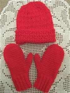 Red knit hat and mittens.