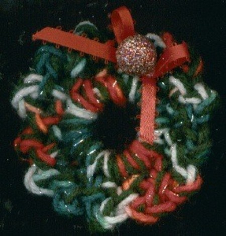 Crocheted Christmas wreath.