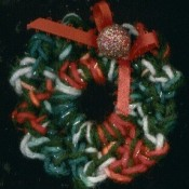 Crocheted Christmas wreath.