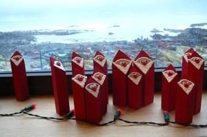 Wooden Santas.