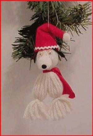 A yarn Snoopy ornament