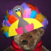Paper hat in shape of turkey with feathers.