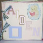 A homemade scrapbook baby album.