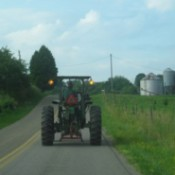 Tractor in road.