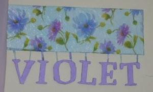 Violet hanging letters.