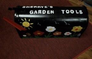 Painted garden mailbox.