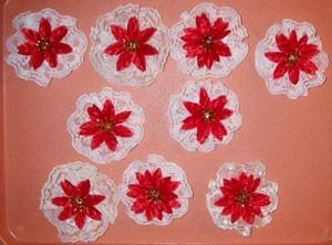 Several lace poinsettias.