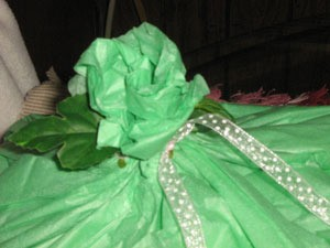 Green tissue rose.