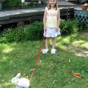 Girl walking a white rabbit.