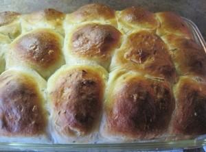 Pan of rolls.