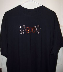 Black shirt with Halloween transfer.