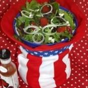 Salad served in Uncle Sam hat.