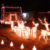 Christmas lights with reindeer pulling a semi-truck.