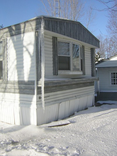 Long icicle on a mobile home.