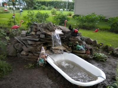 clawfoot bathtub pond