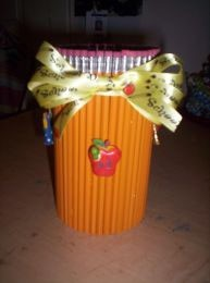 Jar decorated with pencils for vase or pencil holder.