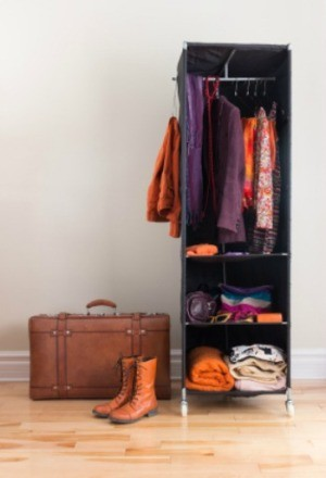 A wardrobe for clothing.