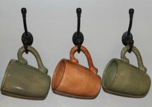 mugs on coat hooks