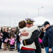 A man in the Navy coming home.