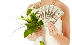 bride holding money