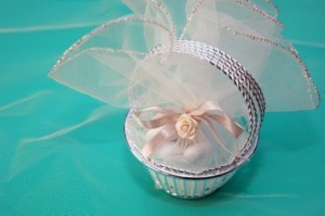 A gift basket for guests at a wedding.