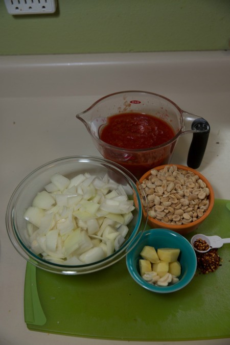 Ingredients for African peanut soup.